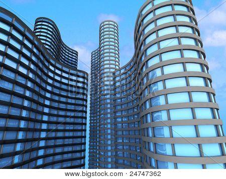 Skyscrapers.3d render