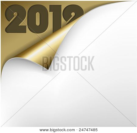 Vector Christmas New Year Card - Sheet of golden paper with a curl showing 2012