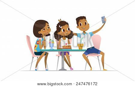 Two African-american Girls And Boy Meeting At The Cafe A And Taking Selfie. Teenagers Friends At The