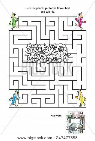 Maze Game Or Activity Page For Kids: Help The Pencils Get To The Flower Bed And Color It. Answer Inc