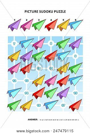 Picture Sudoku Puzzle 6x6 (one Block) With Colorful Paper Planes. Answer Included.