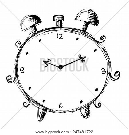 Hand Drawn Clock With White Background. Hand Drawn Illustration.