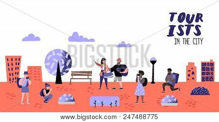 Traveling People In Trip Poster, Banner, Brochure. Tourist With Gadget Taking Photo. Woman Making Se
