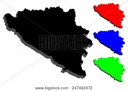 3d Map Of Bosnia And Herzegovina (bih) - Black, Blue And Green - Vector Illustration