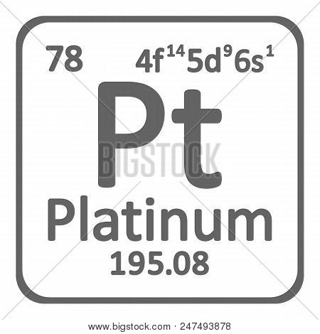 Periodic table element platinum icon on white background. Vector illustration. poster
