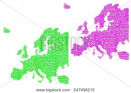Sketch Europe Letter Text Continent, Europe Word - In The Shape Of The Continent, Map Of Continent E