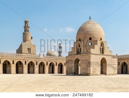 Courtyard Of Ibn Tulun Public Historical Mosque, Cairo, Egypt. View Showing The Ablution Fountain, T