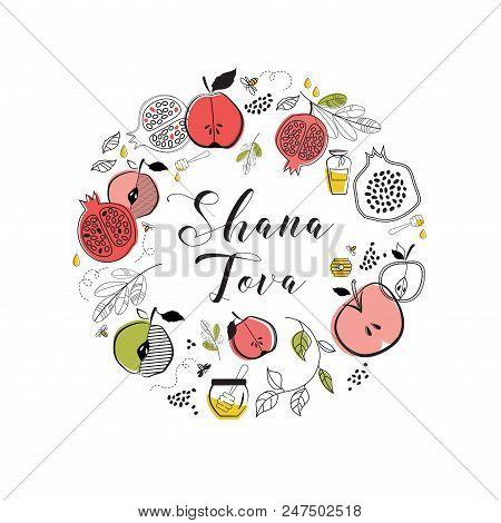 Greeting Card With Symbols Of Jewish Holiday Rosh Hashana , New Year. Blessing Of Happy New Year, Sh