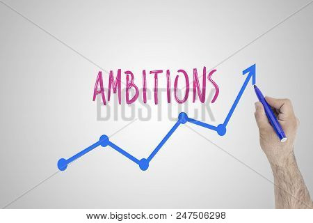 Growing Ambitions Concept On White Board. Businessman Draw Accelerating Line Of Improving Ambitions