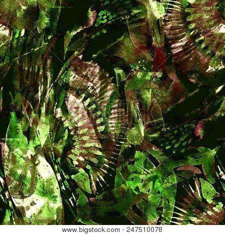 Watercolor exotic seamless pattern. Ikat colorful paint background. Oriental watercolour bandana. Swimwear texture. Floral coachella seamless pattern. Ethnic abstract mix artwork. poster