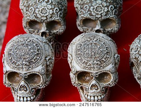 Carved Skulls In Mexico For The Day Of The Dead Festival