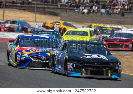 June 24, 2018 - Sonoma, California , USA: Jamie McMurray (1) races for the TOYOTA/SAVE MART 350 at Sonoma Raceway in Sonoma, California .