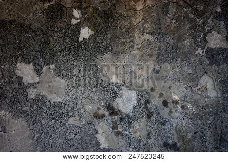 texture concrete wall crack old worn uneven grey poster