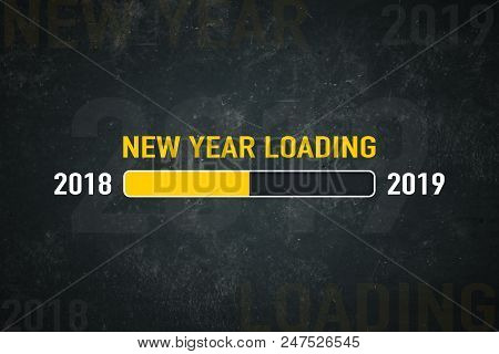 Loading Bar 2018 And 2019 New Year Loading On A Dark Background