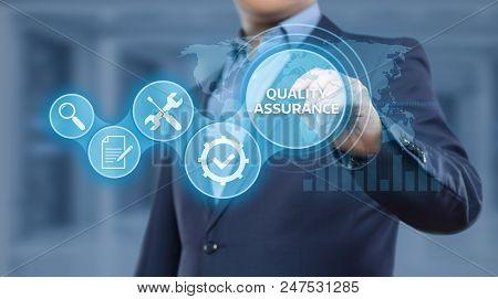 Quality Assurance Service Guarantee Standard Internet Business Technology Concept. poster