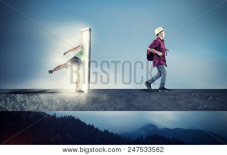 Man Going Through A Portal Coming Out Happy And Wearing Travel Equipment. Half Businessman Half Hike