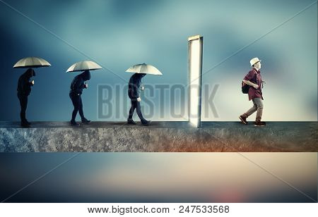 Group Of Sad People Going Through A Portal , Coming Out Happy And Positive. The Concept Of Mindset P