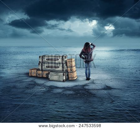 Confused Woman With Her Luggage On A Piece Of Concrete In The Middle Of The Ocean.