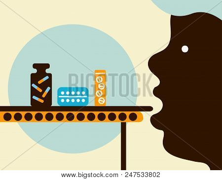 Overdose, Conveyor Of Drugs, Man Taking Pills. Vector Illustrtion