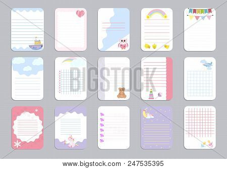 Kids Notebook Page Template Vector Cards, Notes, Stickers, Labels, Tags Paper Sheet Illustration. Te