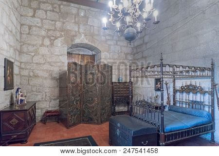 Guimaraes, Portugal. August 14, 2017: Medieval-type Bedroom Of The Dukes Of Braganza In Its Palace W