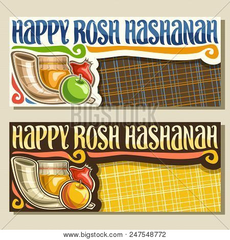 Vector Banners For Jewish Holiday Rosh Hashanah With Copyspace, Shofar And Healthy Food - Autumn Hon
