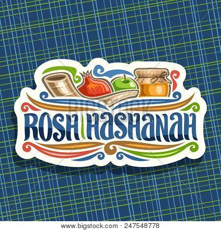 Vector Logo For Jewish Holiday Rosh Hashanah, Cut Paper Sign With Ritual Shofar, Kosher Healthy Food