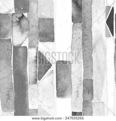 Bauhaus pattern. Black and white geometric watercolor abstract seamless print. Watercolour stripe background. Kaleidoscope lines.  Contemporary art illustration. Bauhaus graphic design. Trendy texture poster