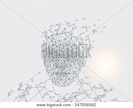 Human Made Of Lines Artificial Intelligence And Blurry Sun Glowing Artificial Intelligence Of Creatu
