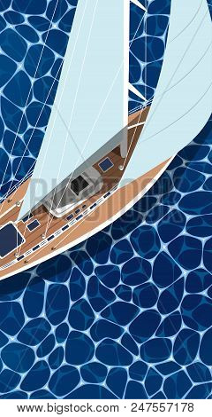 Sailing Ship Vertical Flyer With Space For Text. Top View Sail Boat On Deep Blue Sea Water. Luxury Y