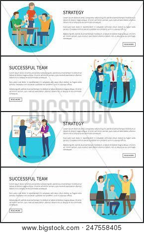 Successful Team And Strategy Promo Internet Pages Set. Work Cooperation To Create New Project. Succe