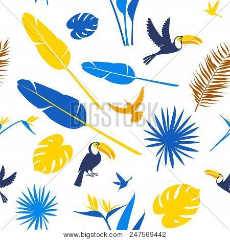 Tropical Flowers, Jungle Palm Leaves, Paradise Tropical Humming Birds And Toucans. Beautiful Seamles