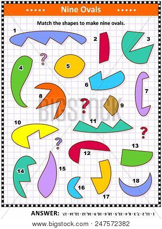 Iq And Spatial Skills Training Math Visual Puzzle: Match The Shapes To Make Nine Ovals, Or Ellipses.