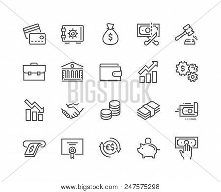 Simple Set Of Finance Related Vector Line Icons. Contains Such Icons As Taxes, Money Management, Han