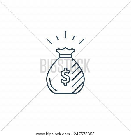 Financial Investment, Money Bag, Income Growth, Savings Account, Reward Concept Vector Line Icon