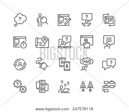 Simple Set Of Ux Related Vector Line Icons. Contains Such Icons As User Flow, Journey Map, A-b Testi
