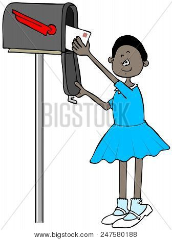 Illustration Of A Black Girl On Her Tip-toes Getting A Letter Out Of A Mailbox.
