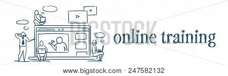 Media Player Online Video Streaming Vlog Concept Business People Sitting On Laptop Videoblogs On Whi