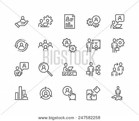 Simple Set of Business Management Related Vector Line Icons. Contains such Icons as Inspector, Personal Quality, Employee Management and more. Editable Stroke. 48x48 Pixel Perfect. poster
