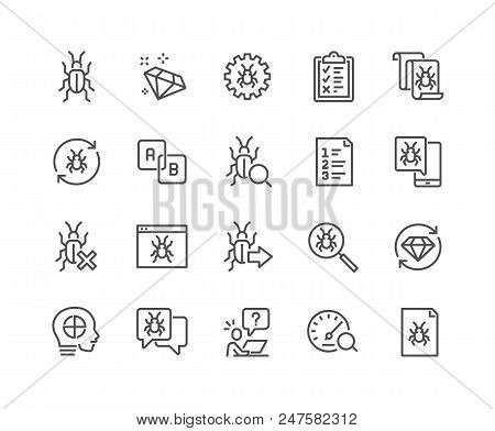 Simple Set of Quality Assurance Related Vector Line Icons. Contains such Icons as UI Testing, Bug Report, Test Case and more. Editable Stroke. 48x48 Pixel Perfect. poster