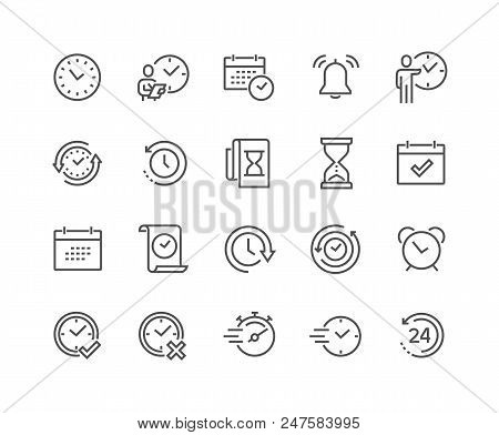 Simple Set Of Time Related Vector Line Icons. Contains Such Icons As Time Inspection, Log, Calendar