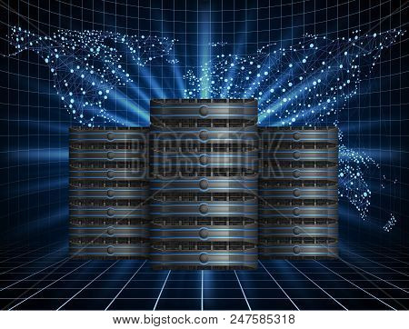 Illustration Of Global Communications With Hree Server Racks, Data Center Icon On Background With Wo