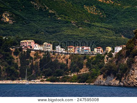 Line Of Houses In Parga, Greece With The Beach Downiside