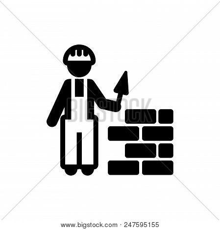 Construction Worker Vector Icon Flat Style Illustration For Web, Mobile, Logo, Application And Graph