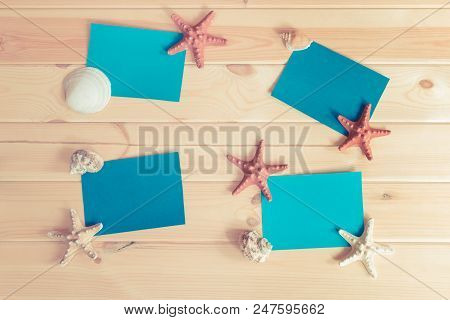 Blue Cards, Starfishes And Seashells. Summer Background.