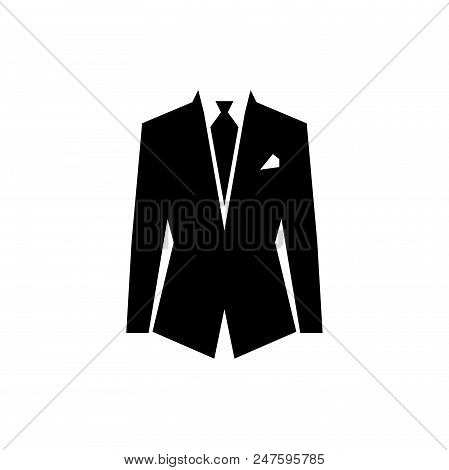 Suit, Tie Vector Icon Flat Style Illustration For Web, Mobile, Logo, Application And Graphic Design.