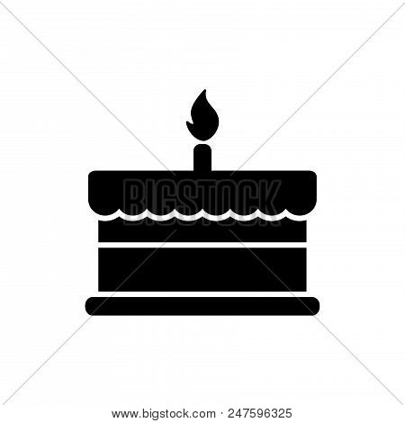 Birthday Cake Vector Icon Flat Style Illustration For Web, Mobile, Logo, Application And Graphic Des