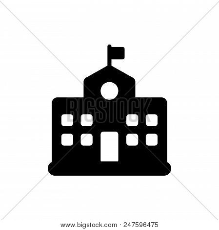 School Campus Vector Icon Flat Style Illustration For Web, Mobile, Logo, Application And Graphic Des