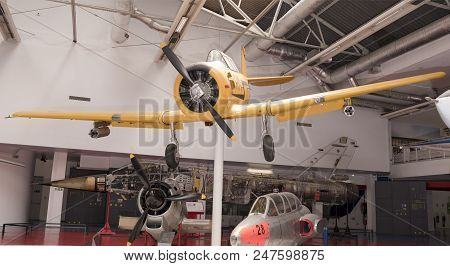 Le Bourget, Paris, France- May 04,2017: North American T-6g Texan(1935) In The Museum Of Astronautic
