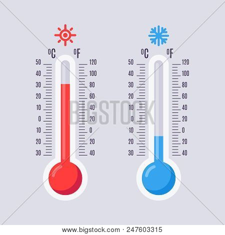 Flat thermometers. Hot and cold mercury thermometer control with accuracy meteorology fahrenheit and celsius scales temp. Warm sun heat and winter cool temperature blue red vector isolated icons set poster